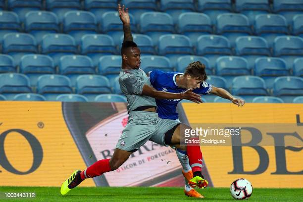 Gabriel Magalhaes of Lille competes for the ball with Kieran Dowell of Everton during the match between Everton FC and LOSC Lille for Algarve...