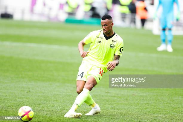 Gabriel Magalhaes of Lille during the Ligue 1 match between FC Toulouse and Lille OSC on April 21 2019 in Toulouse France