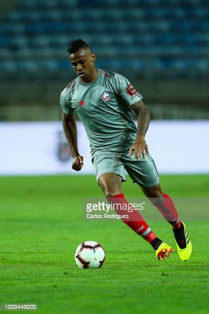 Gabriel Magalhaes of Lille kicks the ball during the match between Everton FC and LOSC Lille for Algarve Football Cup 2018 at Estadio do Algarve on...