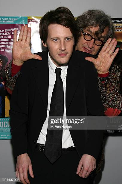 Gabriel Mann and Wim Wenders during 'Don't Come Knocking' New York Inside arrivals at DGA Theater in New York NY United States