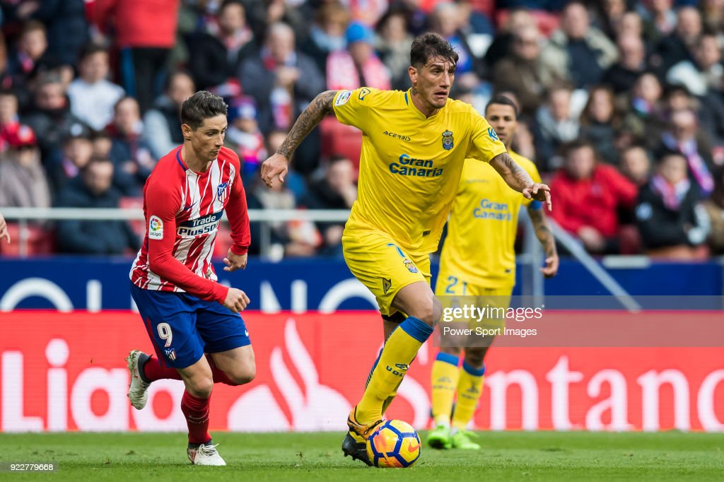 Gabriel Martin Penalba (R) of UD Las Palmas in action during the La Liga 2017-18 match between Atletico de Madrid and UD Las Palmas at Wanda Metropolitano on January 28 2018 in Madrid, Spain.