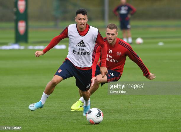 Gabriel Martinelli and Calum Chambers of Arsenal during the Arsenal Training Session at London Colney on September 12 2019 in St Albans England
