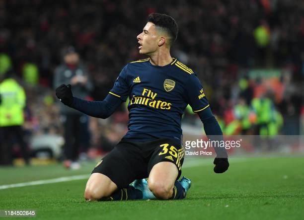 Gabriel Martinelli celebrates scoring Arsenal's 2nd goal during the Carabao Cup Round of 16 match between Liverpool and Arsenal at Anfield on October...