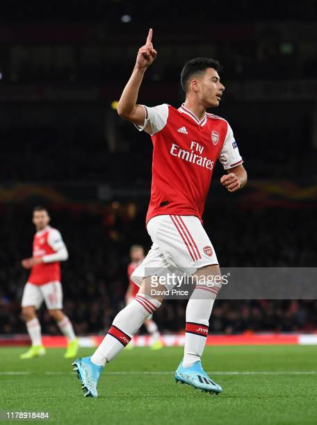 Gabriel Martinelli celebrates scoring his and Arsenal's 2nd goal during the UEFA Europa League group F match between Arsenal FC and Standard Liege at...
