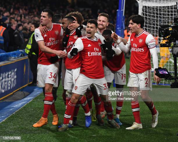 Gabriel Martinelli celebrates scoring the 1st Arsenal goal with Ganit Xhaka Alex Lacazette and Hector Bellerin during the Premier League match...