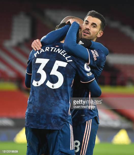 Gabriel Martinelli celebrates scoring the 2nd Arsenal goal with Dani Ceballos during the Premier League match between Sheffield United and Arsenal at...