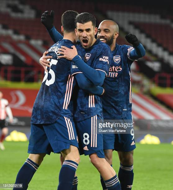 Gabriel Martinelli celebrates scoring the 2nd Arsenal goal with Dani Ceballos and Alex Lacazette during the Premier League match between Sheffield...
