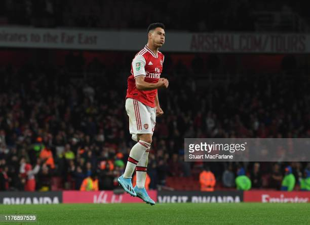 Gabriel Martinelli celebrates scoring the 5th Arsenal goal during the Carabao Cup Third Round match between Arsenal and Nottingham Forest at Emirates...