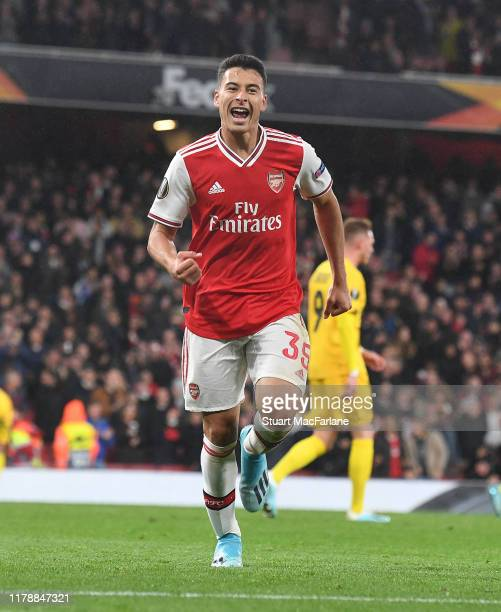 Gabriel Martinelli celebrates the 4th Arsenal goal scored by Dani Ceballos during the UEFA Europa League group F match between Arsenal FC and...