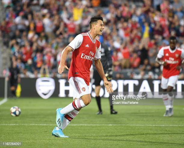 Gabriel Martinelli delebrates scoring the 3rd Arsenal goal during the pre season friendly between Colorado Rapids and Arsenal at Dick's Sporting...