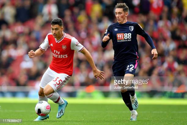 Gabriel Martinelli of Arsenal and Harry Wilson of Bournemouth during the Premier League match between Arsenal FC and AFC Bournemouth at Emirates...