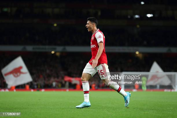 Gabriel Martinelli of Arsenal celebrates after scoring a goal to make it 10 during the Carabao Cup Third Round match between Arsenal and Nottingham...