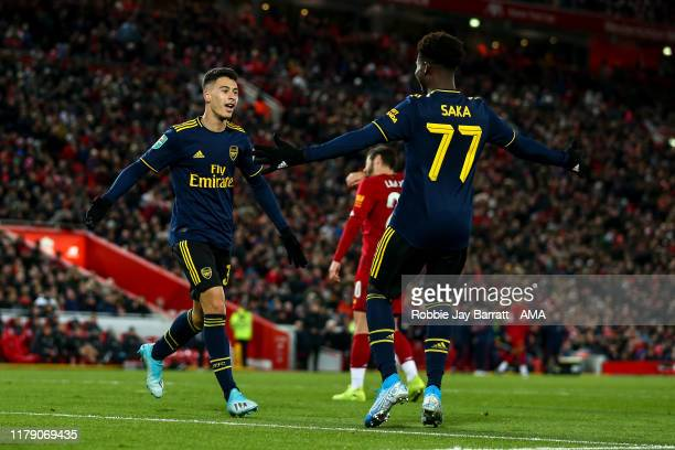 Gabriel Martinelli of Arsenal celebrates after scoring a goal to make it 13 during the Carabao Cup Round of 16 match between Liverpool and Arsenal at...