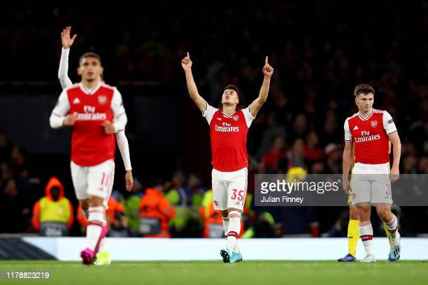 Gabriel Martinelli of Arsenal celebrates after scoring his team's second goal during the UEFA Europa League group F match between Arsenal FC and...