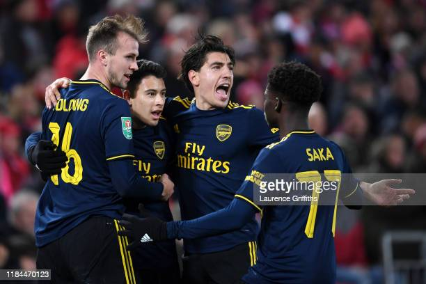 Gabriel Martinelli of Arsenal celebrates after scoring his team's second goal with Rob Holding Hector Bellerin and Bukayo Saka of Arsenal during the...
