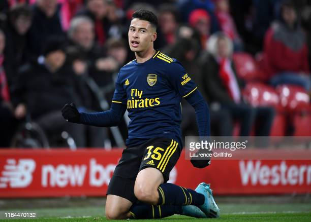 Gabriel Martinelli of Arsenal celebrates after scoring his team's second goal during the Carabao Cup Round of 16 match between Liverpool and Arsenal...
