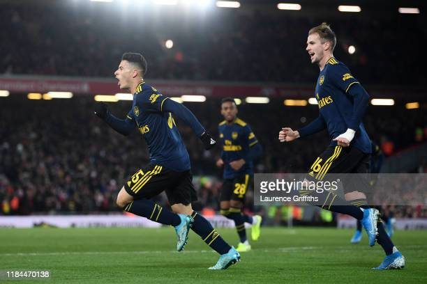 Gabriel Martinelli of Arsenal celebrates after scoring his team's second goal with Rob Holding of Arsenal during the Carabao Cup Round of 16 match...