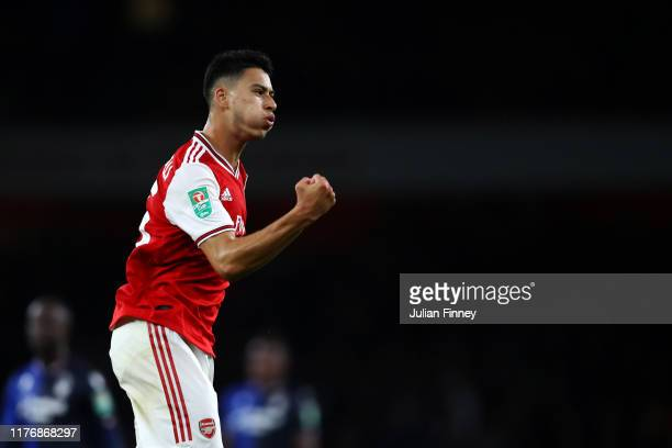 Gabriel Martinelli of Arsenal celebrates scoring a goal during the Carabao Cup Third Round match between Arsenal FC and Nottingham Forrest at...