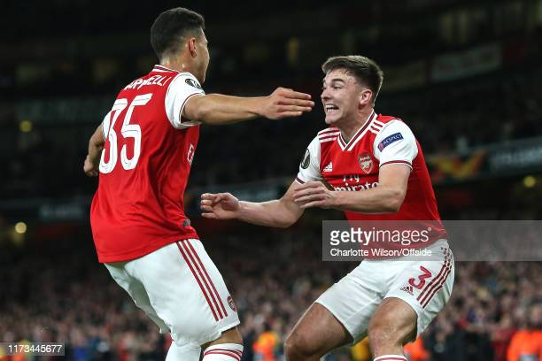 Gabriel Martinelli of Arsenal celebrates scoring the opening goal with Kieran Tierney who provided the assist during the UEFA Europa League group F...
