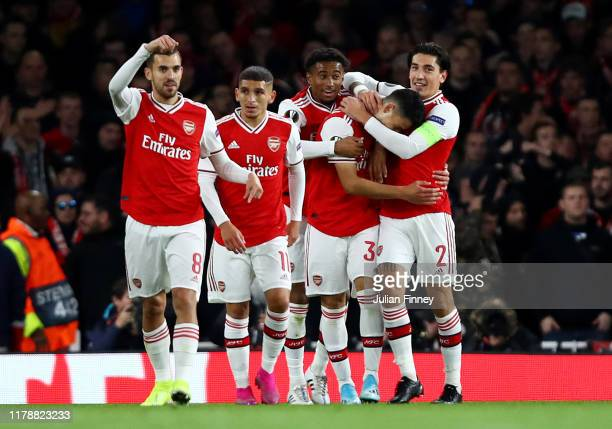 Gabriel Martinelli of Arsenal celebrates with teammates after scoring his team's second goal during the UEFA Europa League group F match between...