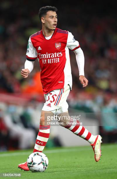 Gabriel Martinelli of Arsenal controls the ball during the Carabao Cup Third Round match between Arsenal and AFC Wimbledon at Emirates Stadium on...