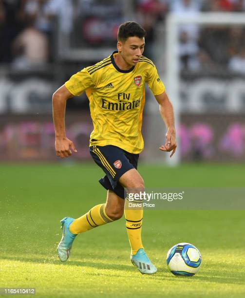 Gabriel Martinelli of Arsenal controls the ball during the preseason friendly match between Angers and Arsenal at Stade Raymond Kopa on July 31 2019...