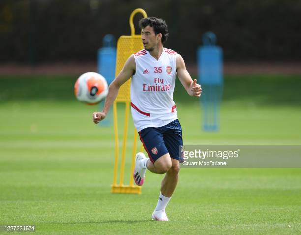 Gabriel Martinelli of Arsenal during a training session at London Colney on May 26 2020 in St Albans England