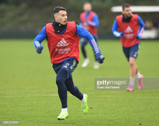 Gabriel Martinelli of Arsenal during a training session at London Colney on December 21, 2020 in St Albans, England.