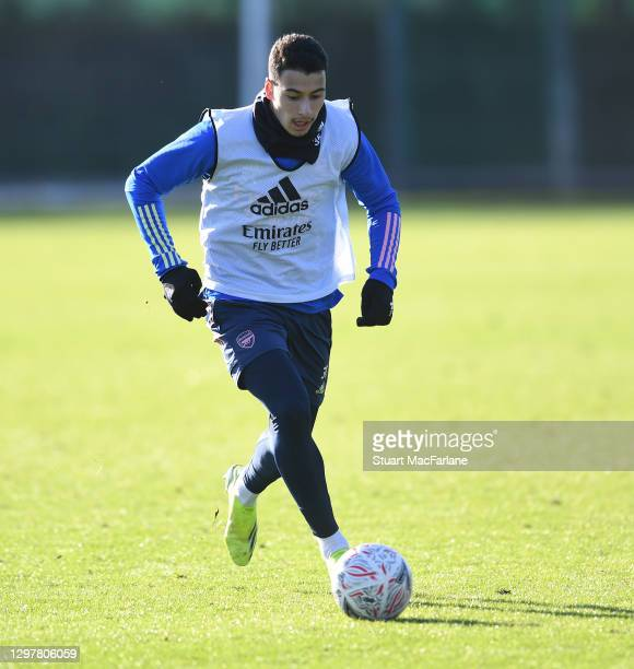 Gabriel Martinelli of Arsenal during a training session at London Colney on January 22, 2021 in St Albans, England.