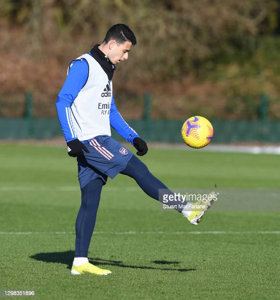 Gabriel Martinelli of Arsenal during a training session at London Colney on January 25, 2021 in St Albans, England.