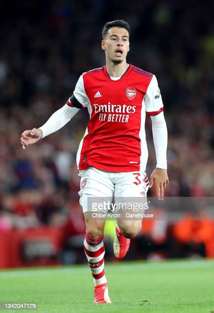 Gabriel Martinelli of Arsenal during the Carabao Cup Third Round match between Arsenal and AFC Wimbledon at Emirates Stadium on September 22, 2021 in...