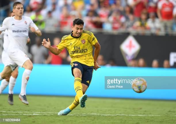 Gabriel Martinelli of Arsenal during the match between Arsenal and Fiorentina at Bank of America Stadium on July 20 2019 in Charlotte North Carolina