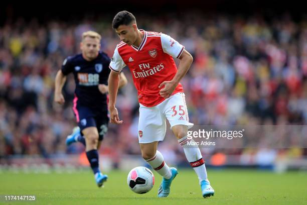 Gabriel Martinelli of Arsenal during the Premier League match between Arsenal FC and AFC Bournemouth at Emirates Stadium on October 6 2019 in London...