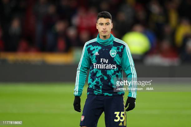 Gabriel Martinelli of Arsenal during the Premier League match between Sheffield United and Arsenal FC at Bramall Lane on October 21 2019 in Sheffield...