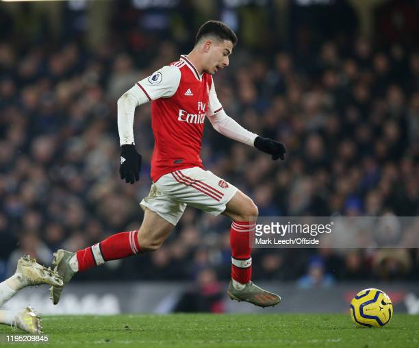 Gabriel Martinelli of Arsenal during the Premier League match between Chelsea FC and Arsenal FC at Stamford Bridge on January 21 2020 in London...