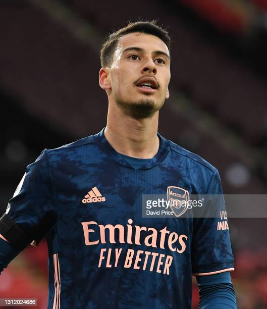 Gabriel Martinelli of Arsenal during the Premier League match between Sheffield United and Arsenal at Bramall Lane on April 11, 2021 in Sheffield,...