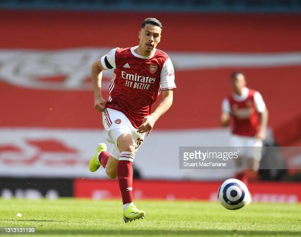 Gabriel Martinelli of Arsenal during the Premier League match between Arsenal and Fulham at Emirates Stadium on April 18, 2021 in London, England....