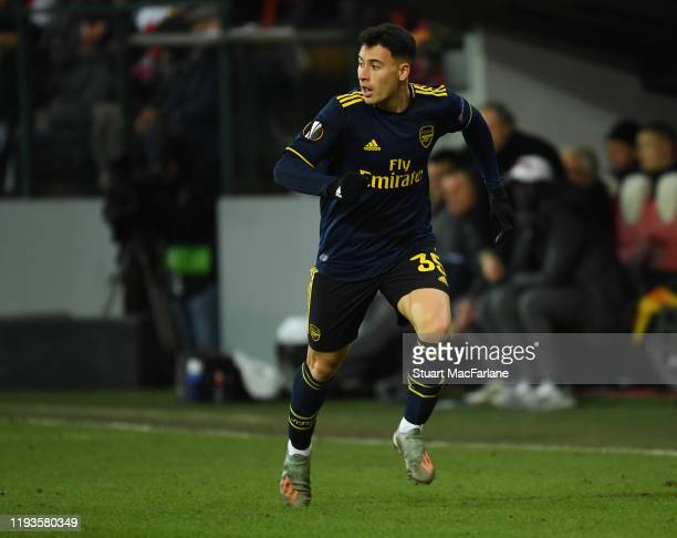 Gabriel Martinelli of Arsenal during the UEFA Europa League group F match between Standard Liege and Arsenal FC at Stade Maurice Dufrasne on December...