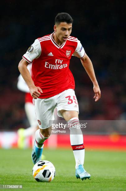 Gabriel Martinelli of Arsenal during UEFA Europa League Group F between Arsenal and Royal Standard de Liege at Emirates stadium London England on 03...
