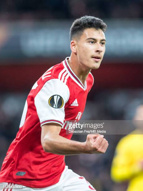 Gabriel Martinelli of Arsenal FC celebrate after scoring 1st goal during the UEFA Europa League group F match between Arsenal FC and Standard Liege...
