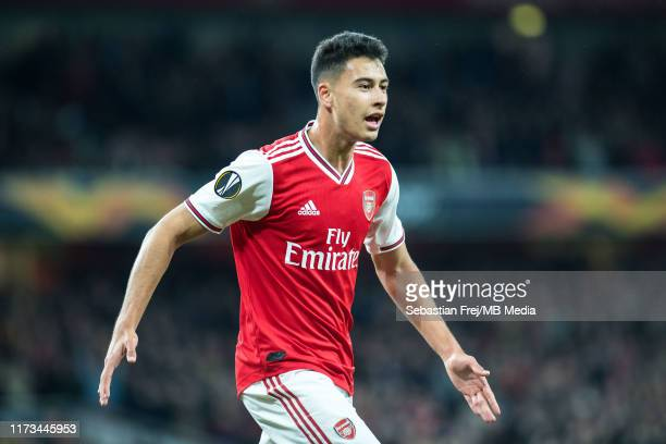 Gabriel Martinelli of Arsenal FC celebrates after scoring 1st goal during the UEFA Europa League group F match between Arsenal FC and Standard Liege...