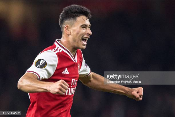 Gabriel Martinelli of Arsenal FC celebrates after scoring the first goal during the UEFA Europa League group F match between Arsenal FC and Vitoria...
