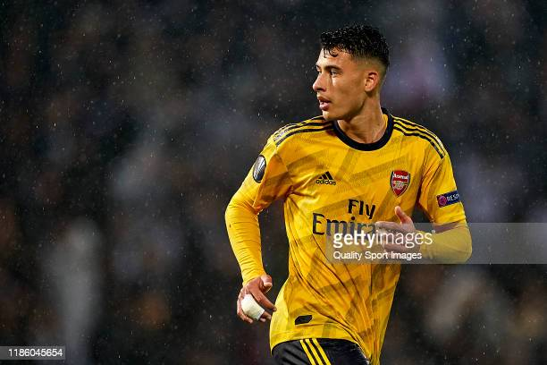 Gabriel Martinelli of Arsenal FC looks on during the UEFA Europa League group F match between Vitoria Guimaraes and Arsenal FC at Estadio Dom Afonso...