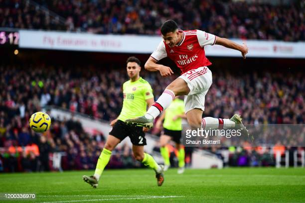 Gabriel Martinelli of Arsenal has a shot on goal during the Premier League match between Arsenal FC and Sheffield United at Emirates Stadium on...