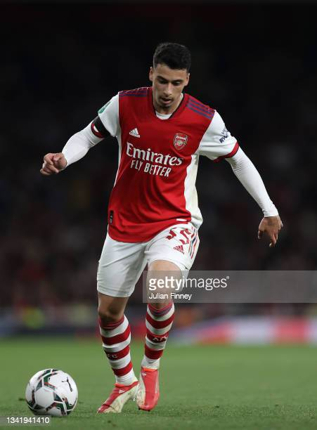 Gabriel Martinelli of Arsenal in action during the Carabao Cup Third Round match between Arsenal and AFC Wimbledon at Emirates Stadium on September...