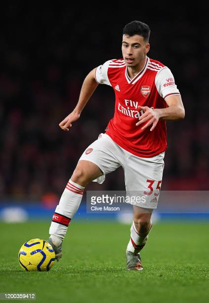 Gabriel Martinelli of Arsenal in action during the Premier League match between Arsenal FC and Sheffield United at Emirates Stadium on January 18,...