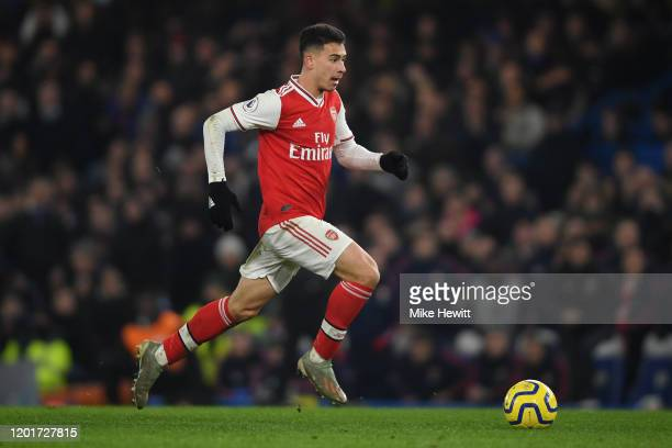 Gabriel Martinelli of Arsenal in action during the Premier League match between Chelsea FC and Arsenal FC at Stamford Bridge on January 21, 2020 in...