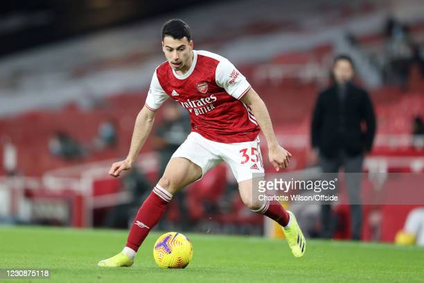 Gabriel Martinelli of Arsenal in action during the Premier League match between Arsenal and Manchester United at Emirates Stadium on January 30, 2021...
