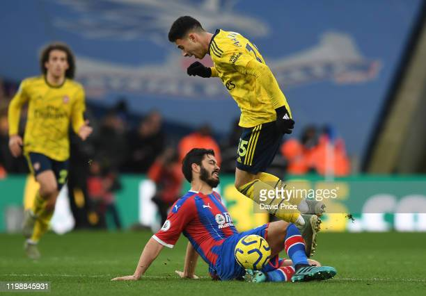 Gabriel Martinelli of Arsenal is fouled by James Tomkins of Palace during the Premier League match between Crystal Palace and Arsenal FC at Selhurst...