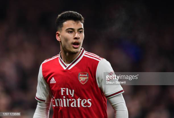 Gabriel Martinelli of Arsenal looks on during the Premier League match between Chelsea FC and Arsenal FC at Stamford Bridge on January 21 2020 in...